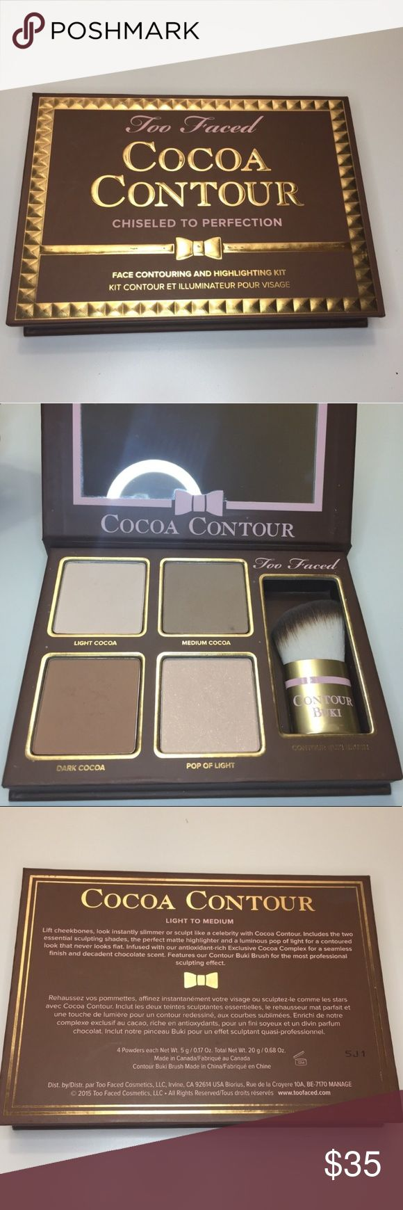 Too Faced Cocoa Contour Kit Kit comes with 4 shades and a brush  Still good as new✨  Details: Cocoa Contour gives you the power to enhance your most beautiful features and minimize the ones you want to hide in a few simple steps. This curated kit comes with the two essential sculpting shades, the perfect matte highlighter, and a luminous pop of light for a contoured look that never looks flat. Infused with the antioxidant-rich Exclusive Cocoa Complex. Too Faced Makeup Bronzer