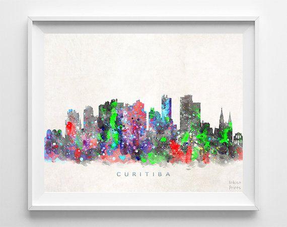 Curitiba Skyline Print Brasil Print Curitiba by InkistPrints