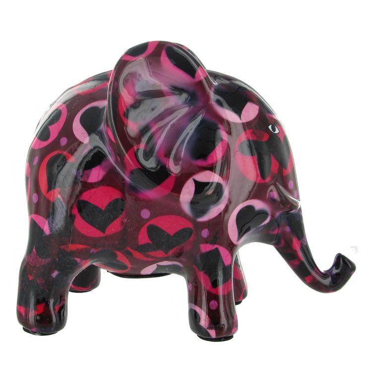 Pomme Pidou Elephant Animal Money Bank - Black and Pink