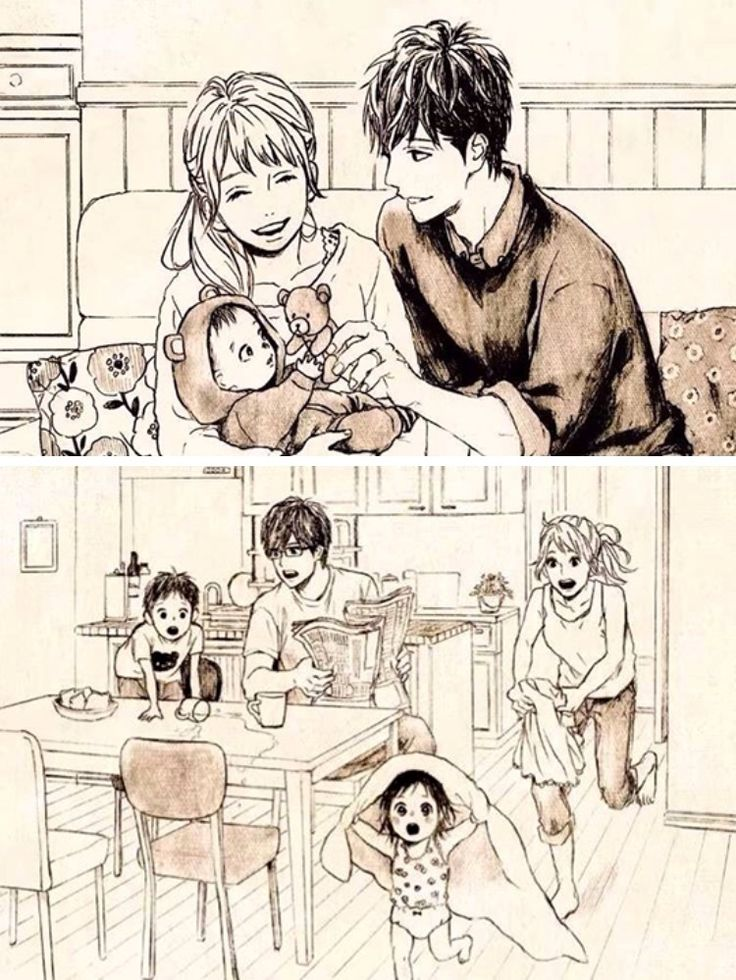 Official art of future Naho and Kakeru with their kids (Orange by Takano Ichigo)