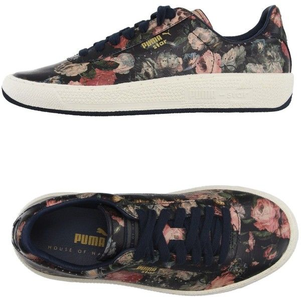 House Of Hackney X Puma Low-tops & Trainers ($130) ❤ liked on Polyvore featuring shoes, sneakers, black, leather sneakers, puma sneakers, floral shoes, black trainers and floral sneakers