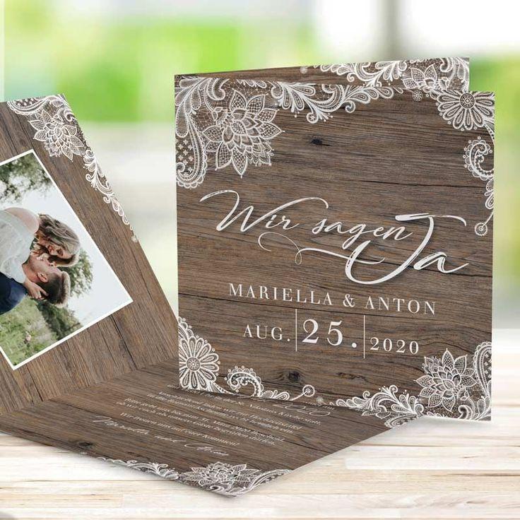 Hochzeitseinladung Holz und Spitze