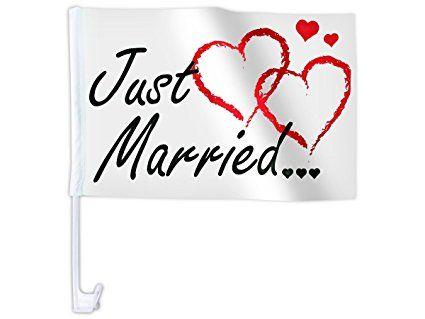Bandierina per la macchina ,,Just Married' con motivi diversi matrimonio bandiera decorazione macchina auto romantico amore nozze sintetico festa eventi spettacolo , JustMarried AutoAFL-10:AFL-10C Just Married cuori