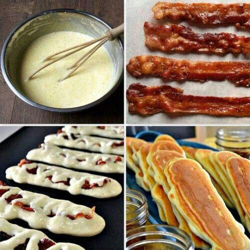 Pancake covered bacon strips!! Yummy | I'm hungry... | Pinterest