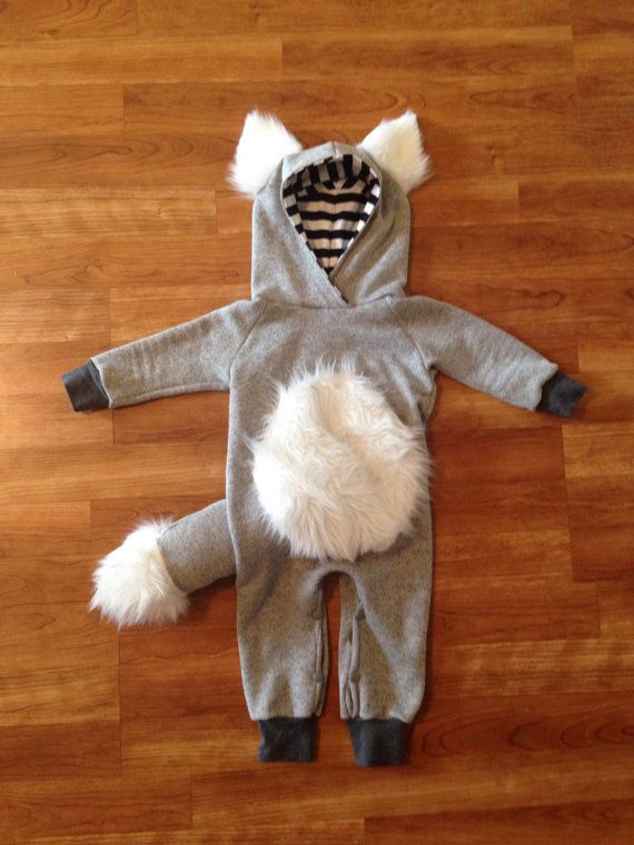 Wolf Hooded Romper Wolf Outfit Halloween outfit baby by Nooches