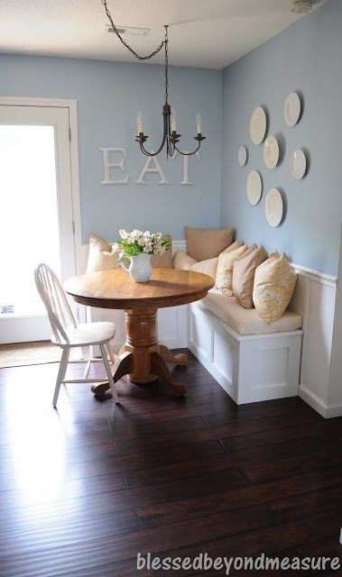 L shaped banquette bench for corner of kitchen. Paint white and and distress to match shelf hanging above.