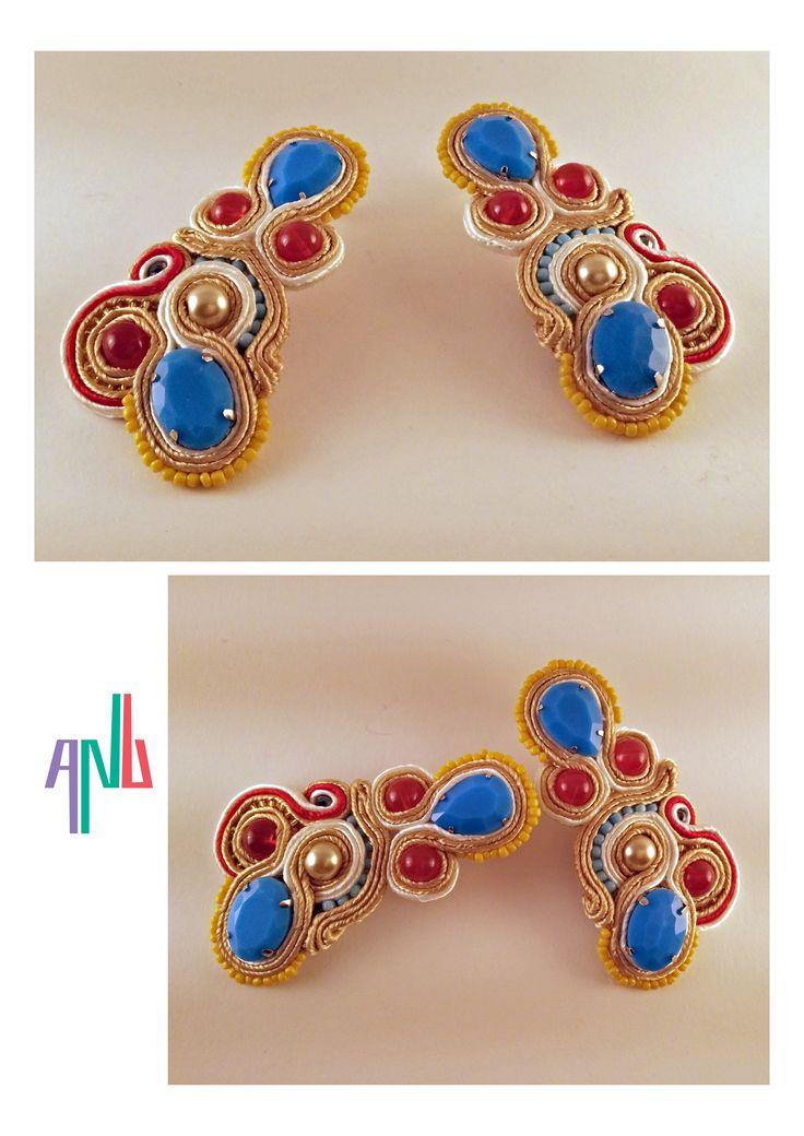 Handmade ANU Jewelry Soutache Earrings Red Blue Yellow