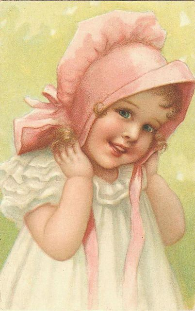 little girl with pink bonnet