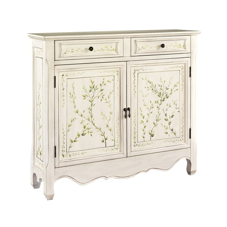 Powell White Hand-Painted 2-door Console | Overstock.com Shopping - The Best Deals on Coffee, Sofa & End Tables