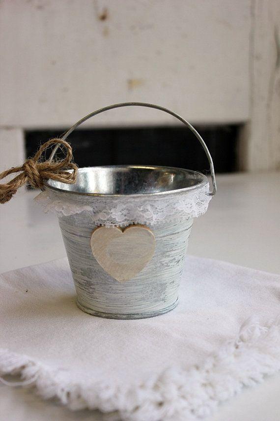 medium flower girl bucket / basket . personalize heart . vintage white ruffle lace . shabby chic flower girl basket