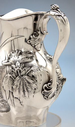 Whiting Antique Sterling Silver Art Nouveau Water Pitcher and Yachting Trophy, New York City, detail, 1904 | JV