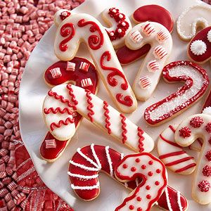 Kids love decorating these holiday cookies with crushed red candy and bright white frosting.