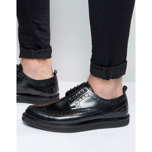 ASOS Brothel Creepers in Black Leather With Brogue Detailing (€80) ❤ liked on Polyvore featuring men's fashion, men's shoes, men's oxfords, black, mens black leather shoes, asos mens shoes, mens leather lace up shoes, mens leather shoes and mens lace up shoes