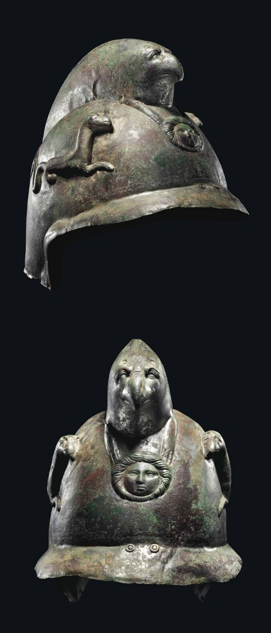 A ROMAN TINNED COPPER CAVALRY PARADE HELMET  CIRCA LATE 2ND-EARLY 3RD CENTURY A.D.