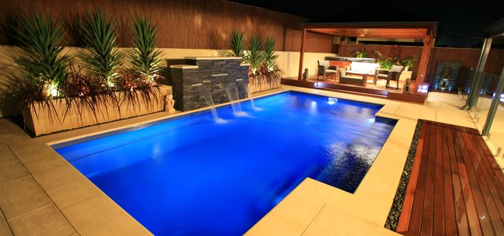 The Elegance is Lesure Pools' premiere fibreglass swimming pool design. With rounded corners and stylish edges, it fits great with any surrounding.