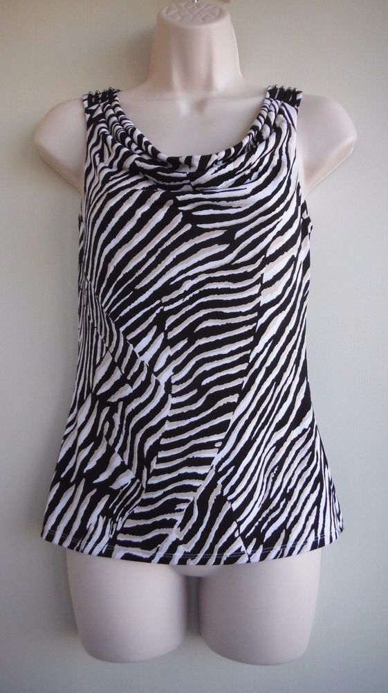 WHITE HOUSE BLACK MARKET Top Size XS Zebra-Like Stripes Pale Brown NWT #WhiteHouseBlackMarket #Blouse