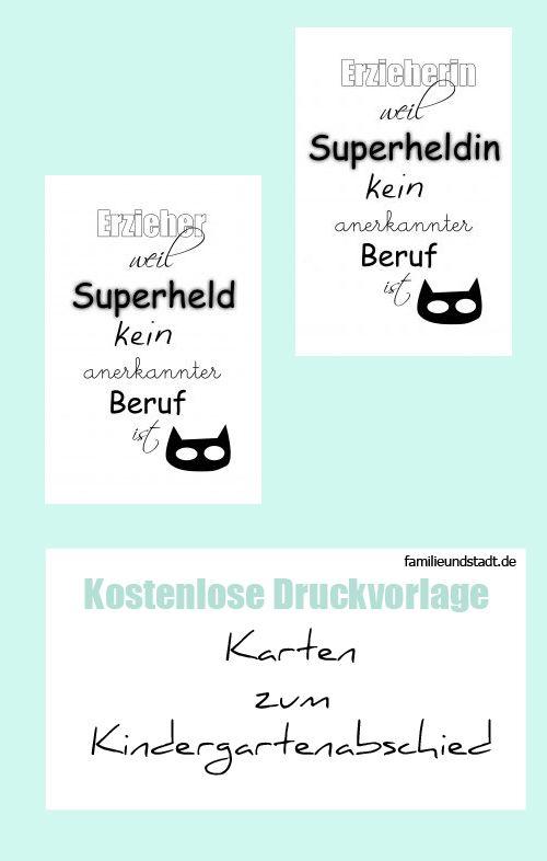 Abschiedsgeschenk Kindergarten DIY Karte basteln mit kostenloser Druckvorlage