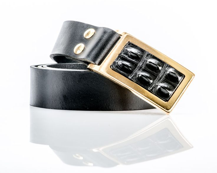 LEATHER BELT,DESIGNED WITH 24CT GOLD PLATED BUCKLE AND CROCODILE SKIN