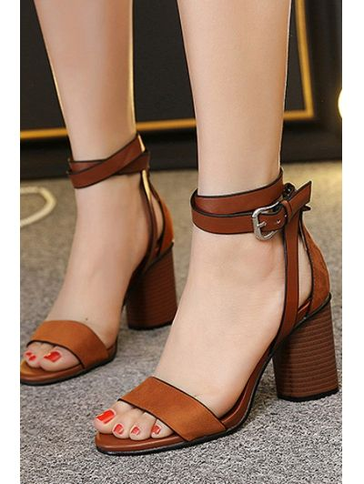 Chunky Heel Suede Ankle Strap Sandals BROWN: Sandals | ZAFUL