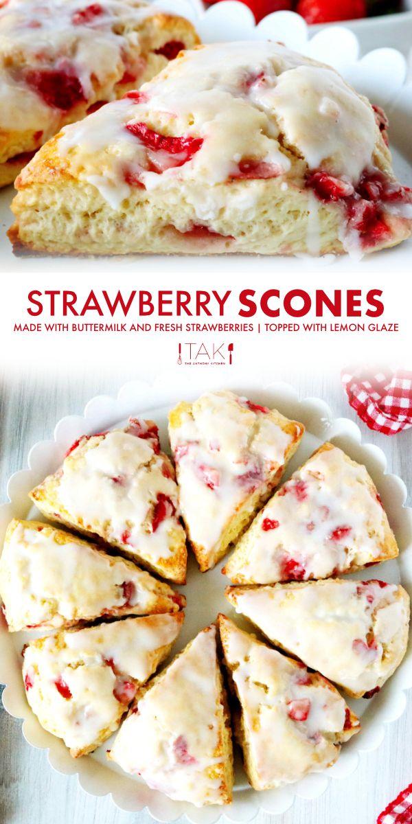 Strawberry Scones Recipe With Lemon Glaze The Anthony Kitchen Recipe In 2020 Lemon Scones Recipe Buttermilk Recipes Scone Recipe