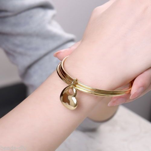 BD Fashion Personality Punk Three Circle Heart-shaped Bracelet Bangle Jewelry