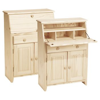 Solid Pine This Little Secretary Style Desk Is Just The Right Size For A Small Space Unfinished Wood FurnitureReal FurnitureOffice