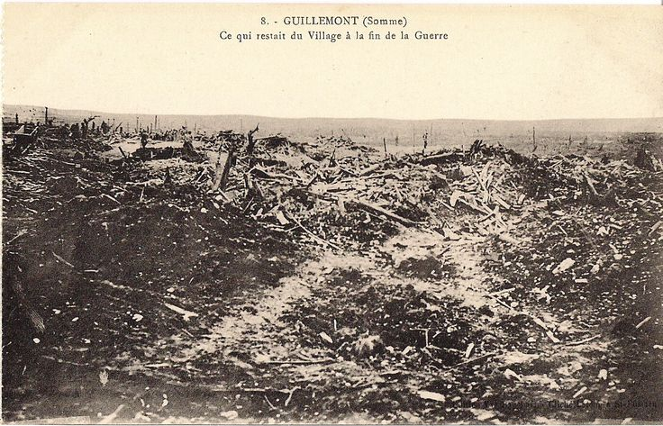 """WW1, July 30, 1916 - """"Guillemont, Somme: All that remains of the village at the end of the war."""" Four battalions of the Liverpool Pals attacked Guillemont on July 30, but their attack did not go well from the beginning. A dense fog meant the artillery bombardment was valueless. Most of the German soldiers left their trenches and hid in No Man's Land, unseen. When the attackers went forward, machine gun bullets came streaming through the fog into their ranks."""