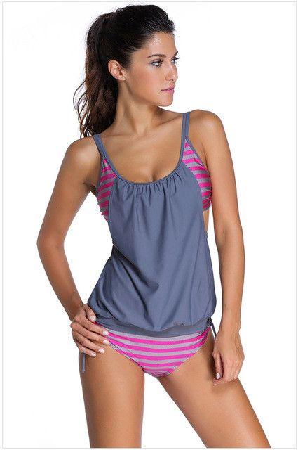 Minimalism Le Plus Size Bikini Set 2017 Sexy Sport Swimwear Woman Swimsuit Striped Bathing Suits Patchwork Biquini S-3XL BK482