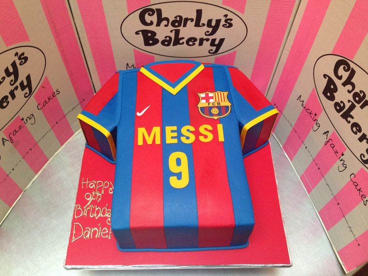 3D Barcelona FC Lional Messi t-shirt shaped cake covered in fondant icing | by Charly's Bakery