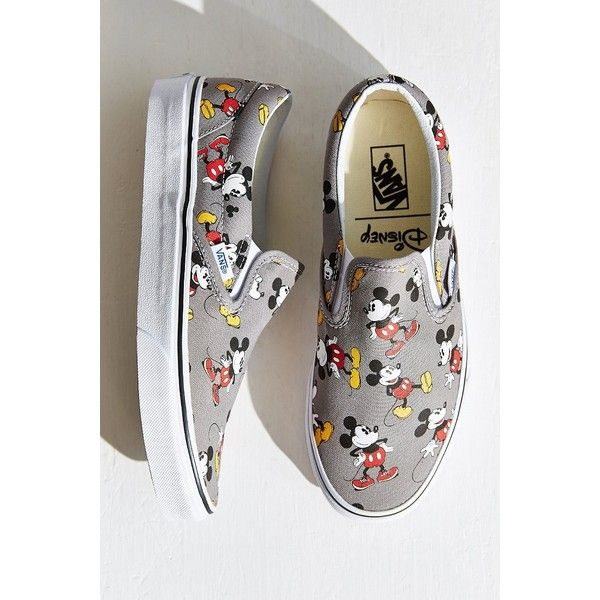 Vans Mickey Mouse Slip-On Sneaker ($60) ❤ liked on Polyvore featuring shoes, sneakers, grey, vans sneakers, slip-on shoes, vans shoes, waffle shoes and gray sneakers