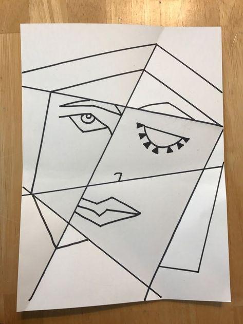 Cubist Picasso Portrait lesson using folded paper