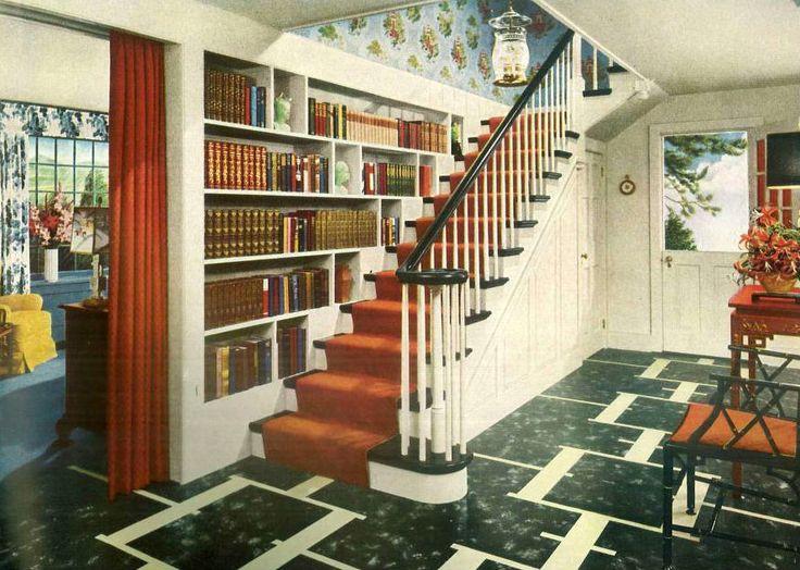 1940s Traditional American Home Hallway. Vintage Interior DesignVintage ...