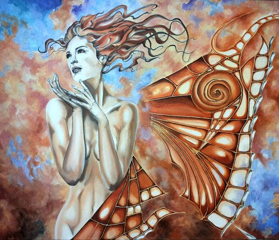 Title: Fly Away -Original fine art oil painting on stretched canvas.  Size: 23 x 27 (60cm x 70cm), the canvas is 6/10 inch deep.