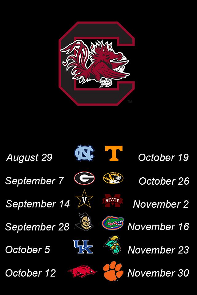 2013 South Carolina Gamecocks football schedule. iPhone wallpaper. Pinch to adjust size in your wallpaper settings