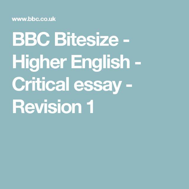 BBC Bitesize - Higher English - Critical essay - Revision 1