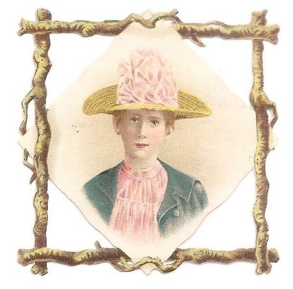La Jeune Femme - - Buste Chapeau  - - Chromo Decoupi  - Victorian Scrap