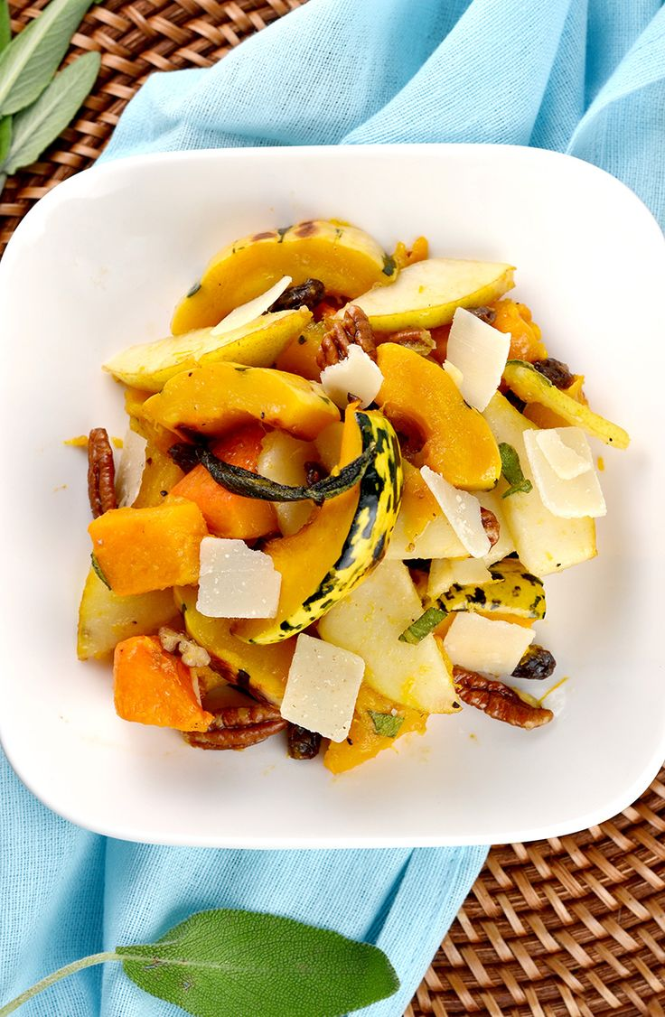 Healthy winter squash with sage, pears, raisins, pecans, and topped with brown butter apple cider dressing