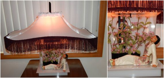 "1950s Moss Lucite Asian Table lamp Original Shade/ Finial 28"" inches Tall"