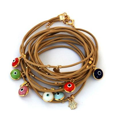 cute leather bracelets with evil eye charms
