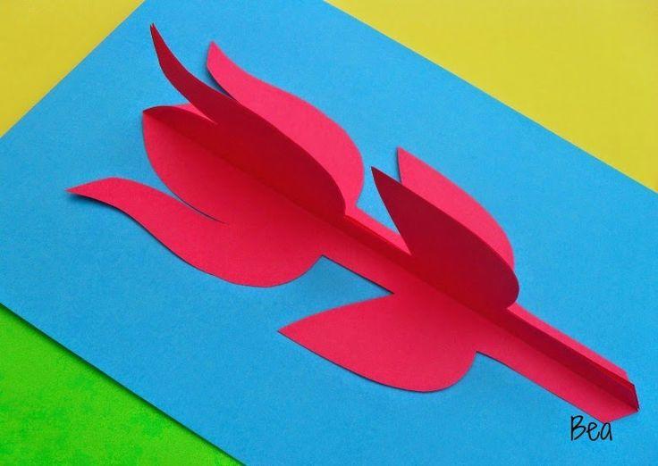 kreatywne prace plastyczne: Laurka z tulipanem A card with a tulip