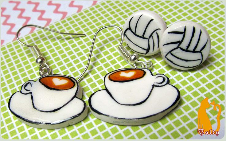 Coffee and Volleyball Earrings by Talty.deviantart.com on @deviantART