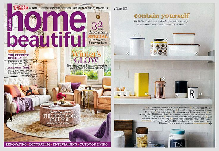 Enamel Storage Containers | Home Beautiful, Aug 2014