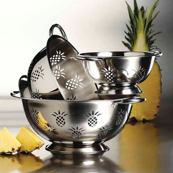 3-Piece Stainless Steel Pineapple Colander Set
