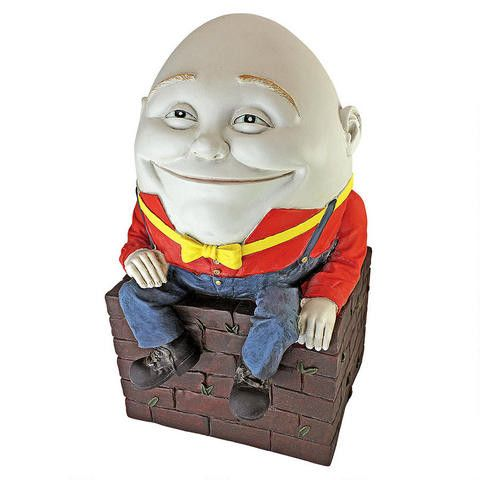 This classic brings European style to your home and garden. Add wit, whimsy and a bit of English historical style to your home with this adorable Humpty Dumpty sculpture inspired by the original 18th