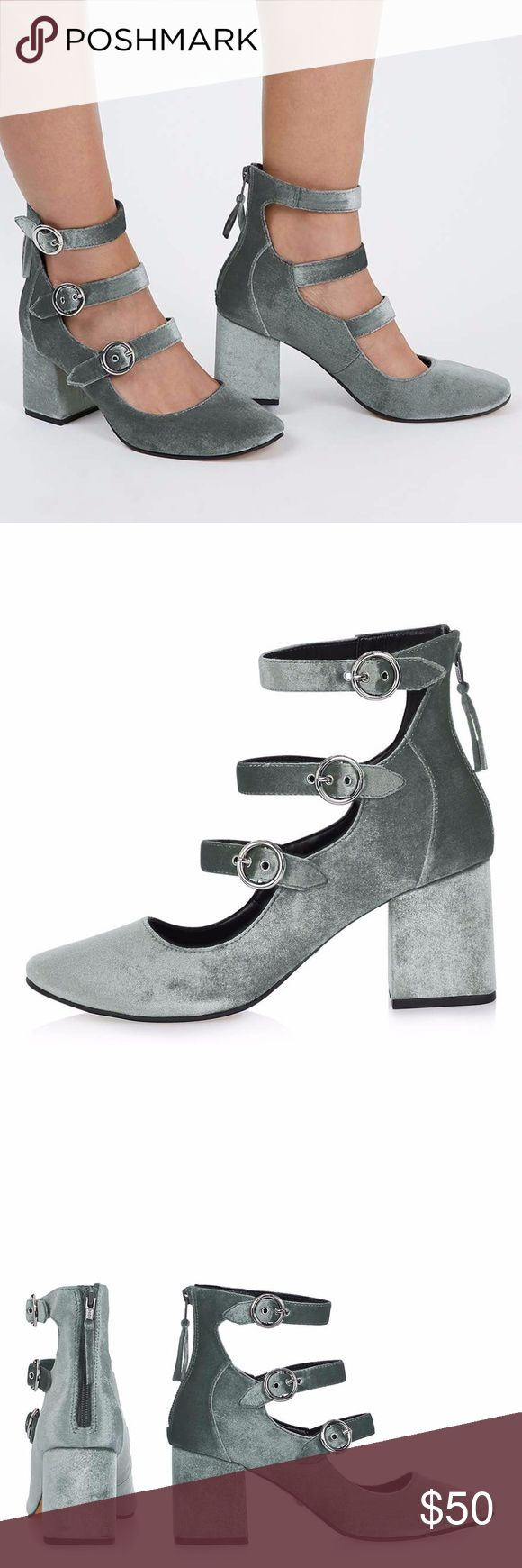 """Topshop JOJO Multi Buckle Shoes 39 8M Get luxe with your footwear in these unique grey velvet multi buckle round toe shoes with zip fastening. A stylish way to step up your casual outfit. Heel height 3.5"""" approx. 100% Textile. Specialist clean only. Colour: GREY Product Code: 32J07KGRY Topshop Shoes Heels"""
