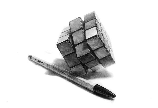 달동네 그림연구실 :: [소묘] 큐브,볼펜 과정작
