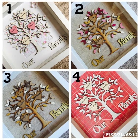 Wooden family tree in box frame - family tree gift
