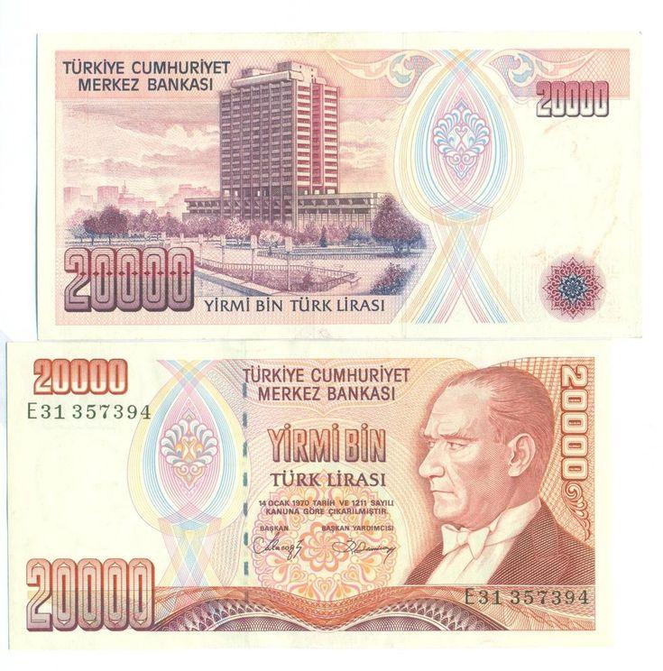 Turkey 20,000 Turkish Lira 1988. P-201. UNC. 1PCS.  Asian.