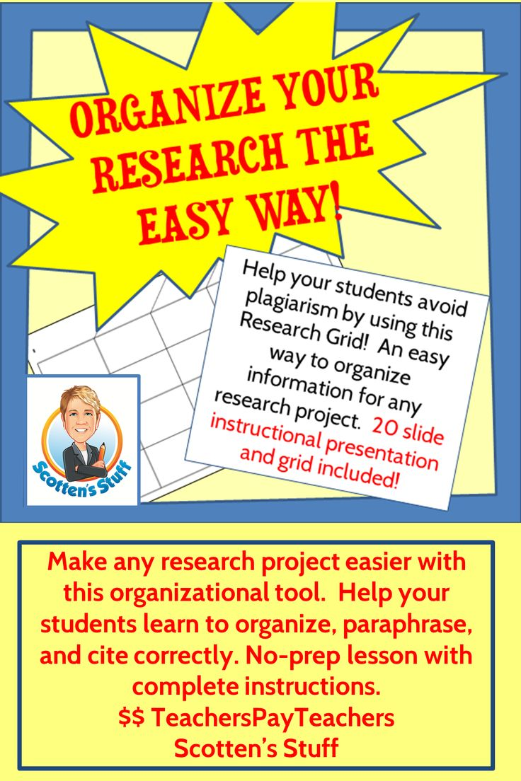 Perfect for middle and high school, this method of organizing research makes it easy for your students to collect information and turn it into an essay. Promotes paraphrasing and proper MLA citation.