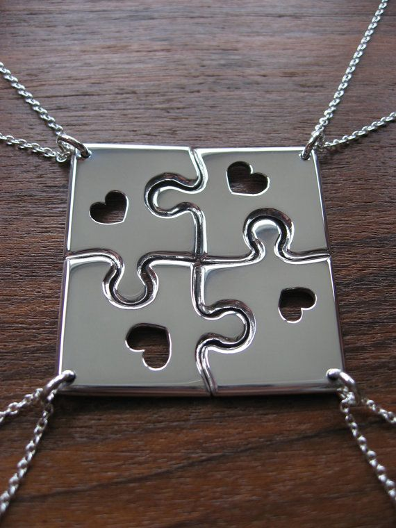 It's a bizillian dollars, but I still love it! ~ Four Corner Puzzle with Hearts Silver Pendant by GorjessJewellery, £160.00
